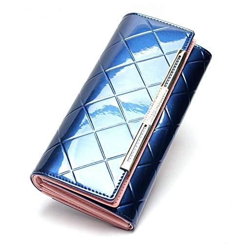 BAIKAOER portemonnee Mode Portemonnee Vrouwen Leer Grote-Capaciteit Mobiele Handtas Leer Multi-Card Merk Diamond Portemonnee, Blauw