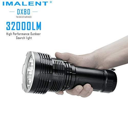 Antorcha IMALENT DX80 32000 lúmenes CREE XHP70 LED de 2ª generación, linterna recargable con pantalla OLED, reflector de mano con interruptor lateral para exteriores