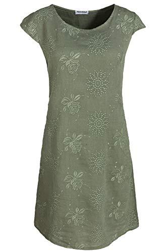PEKIVESSA Damen Leinenkleid Stickerei Sommerkleid Kurzarm Olivgrün 46 (Herstellergröße XXXL)
