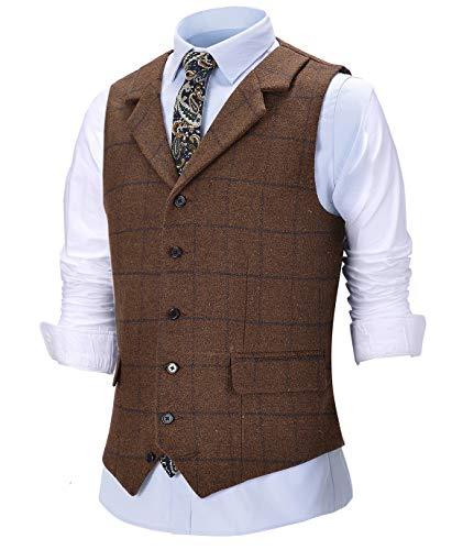 Chaleco de lana de tweed para hombre, estilo vintage, con solapa, ajuste delgado, para novios de boda (espalda no satinada)