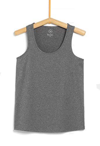 TEX - Camiseta de Deporte Tirantes para Mujer, Gris Plateado, M