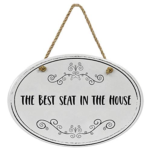 """""""The Best Seat In The House"""" Ceramic Funny Bathroom Sign   8 3/4"""" x 6"""" x 5/16""""   Home Décor Collection   Ceramic with Design   Oval Bathroom Wall Plaque   Bathroom Wall Décor   Bathroom Décor Wall Art"""