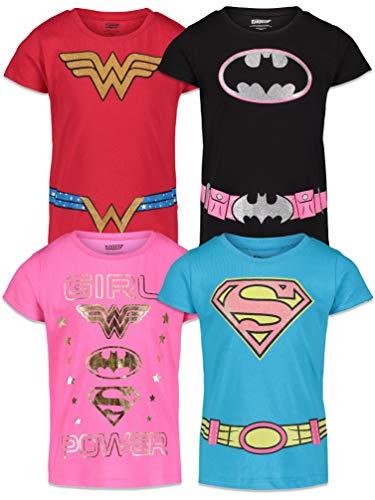DC Comics Wonder Woman Big Girls 4 Pack T-Shirts 6/6X