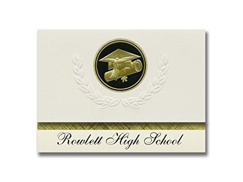 Signature Announcements Rowlett High School (Rowlett, TX) Graduation Ankündigung, Presidential Style, Elite Paket mit 25 Cap & Diplom-Siegel, Schwarz & Gold