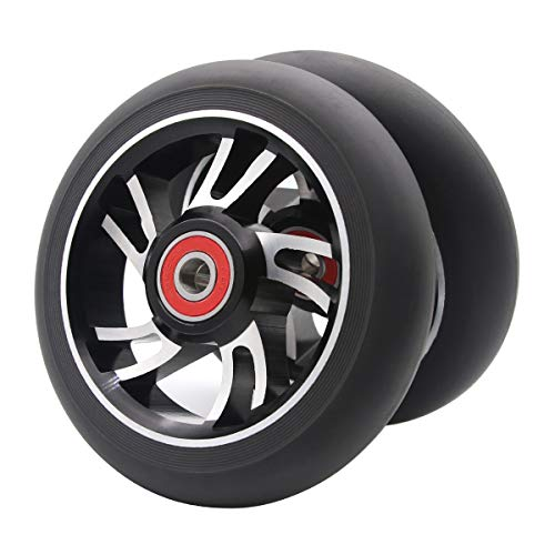 Z-FIRST 2Pcs 110mm Pro Scooter Wheels with ABEC 9 Bearings Fit for MGP/Razor/Lucky Envy/Vokul Pro Scooters Replacement Wheels (Black-Silver)