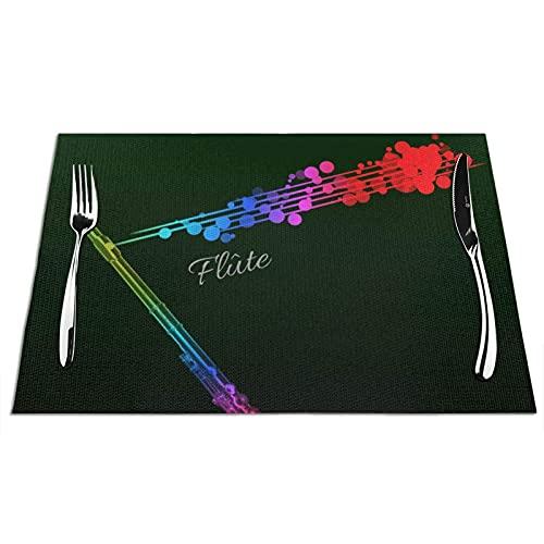 Manteles Individuales Alfombrillas de Mesa de PVC Flauta de Color Toallitas Antideslizantes Resistentes al Calor Manteles Individuales para Cocina Comedor Restaurante Café Juego de 6