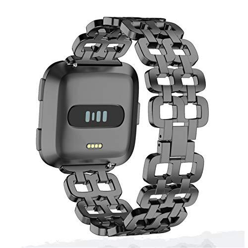XIALEY Correa De Metal Compatible con Fitbit Versa 2/Versa/Versa Lite, Acero Inoxidable Bandas De Repuesto Pulsera De Reloj Pulseras Deportivas Ajustables Compatible con Versa,Negro
