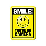 Smile You're On Camera - 9 x 12 inch Video Surveillance Metal Aluminum Sign - Made in The USA