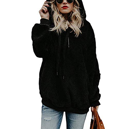 Best Bargain Womens Top!! JSPOYOU Hooded Sweatshirt Coat Winter Warm Zipper Pockets Cotton Long Slee...