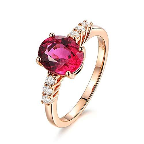 Dreamdge Women Wedding Band Ring 18K Rose Gold Oval Ring, Red Tourmaline Ring 1.3ct Size I½
