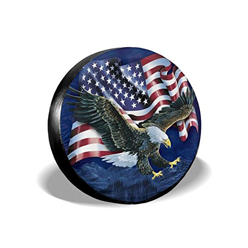OHDS Spare Tire Cover Flying American USA Flag Eagle on The Mountain Wheel Protectors, Waterproof...