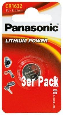 Panasonic Batterien Typ CR 1632 Lithium 3 Volt - im 3er-Sparpack - neueste Produktion