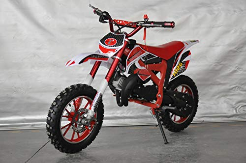 Mini Pitbike con motor de 49cc de 2 tiempos, XTM TEAM cross. Mini dirt bike. Moto de mini cross (Rojo)