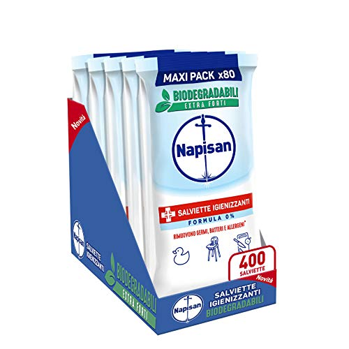 Napisan, 400 Salviette Igienizzanti, Multisuperfici e Biodegradabili, 5 Confezioni da 80 Pezzi, Formula 0%