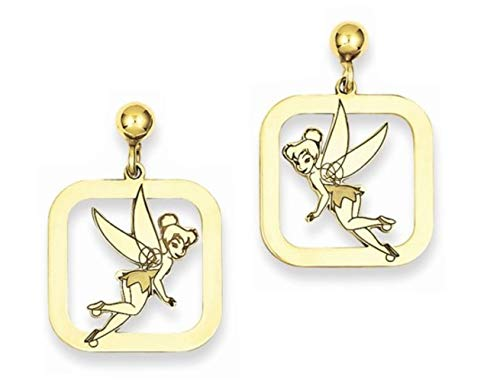 Roy Rose Jewelry Roy Rose Jewelry Gold-plated Sterling Silver Tinker Bell Square Dangle Post Earrings Trademark and Licensed