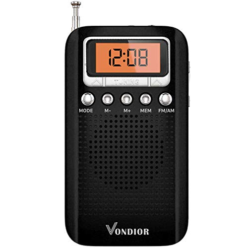 Portable Digital Radio with Alarm Clock - Best Reception and Longest Lasting. AM FM Compact Radio Player Operated by 2 AAA Battery, Stereo Headphone Socket (Black,Orange), by Vondior…