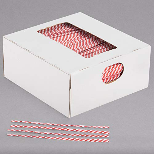 Oasis Supply, 2000 Piece 4' Laminated Paper Twist Ties, BULK with Dispenser Box (RED STRIPED)