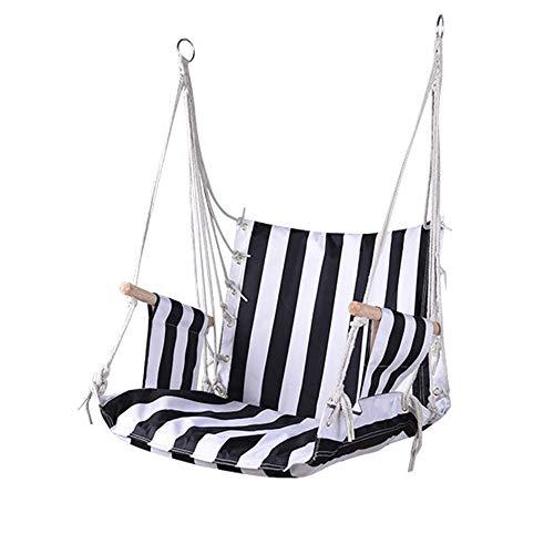 WangLx Swing chair Suspendu Hamac Chaise Jardin Balançoire Siège Fauteuil 50x65x50 Cm Intérieur Rayures Relax Siesta Extérieur Charge Max 120 Kg, Black Strips