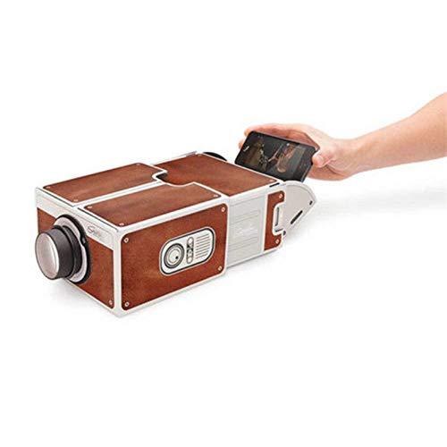 LED Portable Cinema Projector HDMI/USB/SD/AV DIY Mobile Phone Projector Theater (Brown , 28cm18cm10cm)