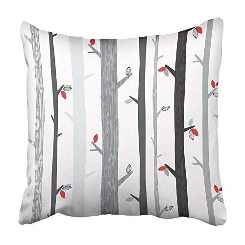 AEMAPE Kissenbezüge Blue Cardinal Birches Birds Im Winter O.Bereich Baum Zusammenfassung Birke Zweig Wald Grafiken 40X40 cm Kissenbezug