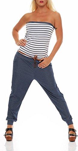 Malito Damen Einteiler im Marine Design | Overall mit Gürtel | Jumpsuit im Jeans Look | Romper - Playsuit - Bandeau 9650 (weiß)