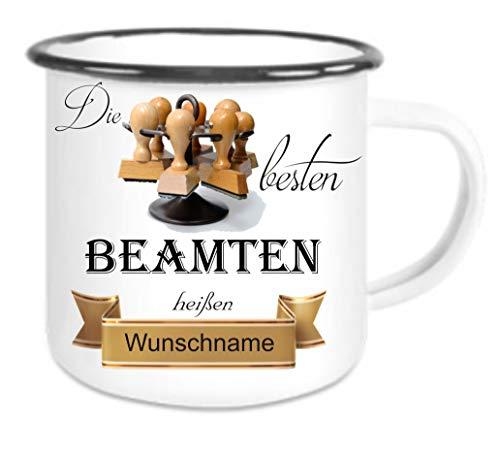 Crealuxe Emailletasse m. Wunschname Die besten Beamten heißen. Wunschname - Kaffeetasse mit Motiv, Bedruckte Tasse mit Sprüchen oder Bildern