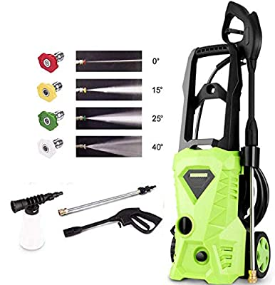 Homdox Pressure Washer, Power Washer with 2500 PSI,1.5GPM, (4) Nozzle Adapter, Longer Cables and Hoses and Detergent Tank,for Cleaning Cars, Houses Driveways, Patios (Green)