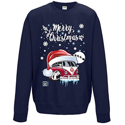 Premium Koolart Noël Bonnet Père Noël Concevoir avec Rétro Camping-Car Camper Van Voiture Image Homme Bleu Marine Pull Noël Pull Haut - Bleu Marine, XXL 52\