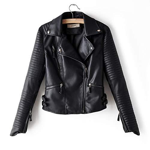 XZYP Lederjacke PU Motorrad Nieten Mantel Umlegekragen Biker Leder Outwear, schwarz, L
