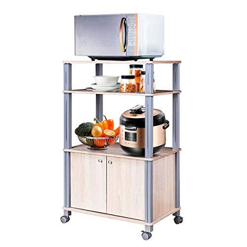 COSTWAY Scaffale da Cucina per Microonde Carrello da Cucina, con Ruote e 2 Ante, Multifunzionale e Movimento Flessibile (Legno)