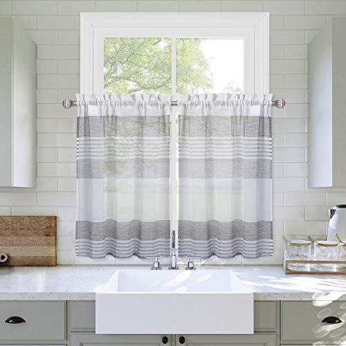"""Haperlare Sheer Tier Curtains for Kitchen Window, Farmhouse Splicing Striped Café Curtains Yarn Dyed Boucle Linen Textured Geometric Half Window Curtain Set for Bathroom, 27""""W x 24""""L, Grey, Set of 2"""