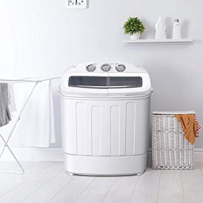 Greensen Portable Twin Tub Washing Machine 2-in-1Washing Machine Washer with Spin-Dryer For Camping Dorms Apartments College Rooms, 220V UK Plug (11lb Washing 7.7lb Power Spin)