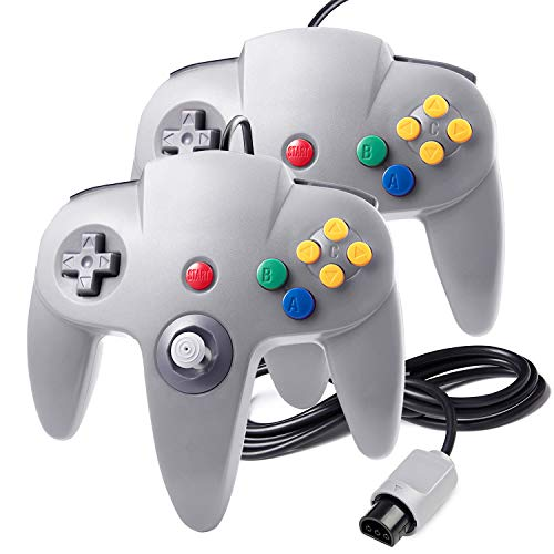 suily 2 Pack Game controller Wired Gamepad Joystick für N64 Konsole N64 System, Grau