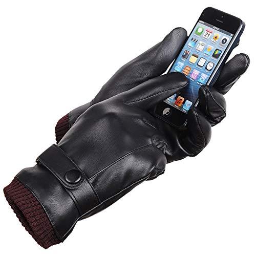 LAOWWO Uomini Touchscreen Texting Inverno nero PU Guanti in ecopelle con fodera in pelle scamosciata lunga Guanti caldi