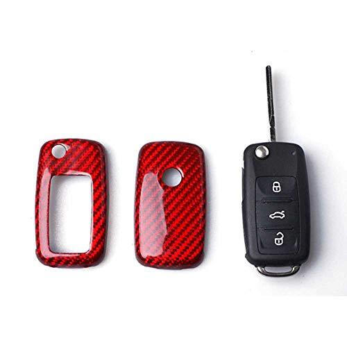 NASHDZ Car Styling Fibra de Carbono Car Fob Remote Key Case Cover Shell Reemplazo de Repuesto, Apto para Volkswagen Golf Bora Jetta Polo Golf Passat