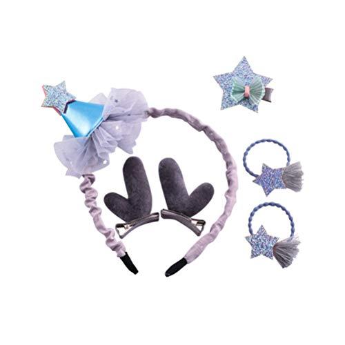 Amosfun Meisjes Kerst Haaraccessoires met Hoofdband Antler Boog Haar Clips Ster Haar Tie (Grijs)