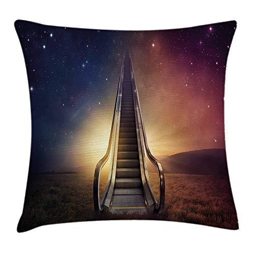 Surrealistische kussensloop gooien, Escalator tot aan de ruimte Galaxy Starry Sky Heaven Planetary Road Theme, decoratieve vierkante Accent kussensloop, 18 X 18 inch, nacht blauw Gedroogde Roos