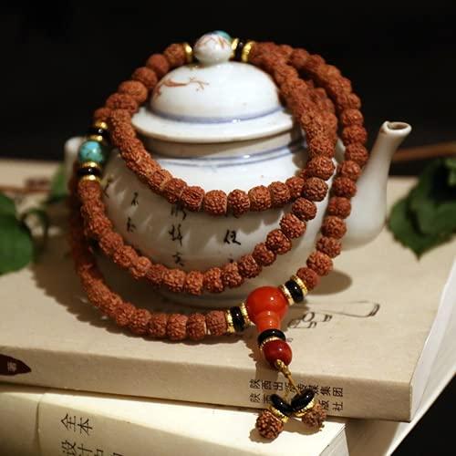 JONJUMP Pulsera de rosario de oración budista tibetana de 8 mm, 108 cuentas Rudraksha Bodhi Seeds
