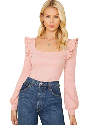 Material: 32% Cotton, 60% Polyester, 8% Spandex Features: Fabric has some stretch. Long Sleeve, lantern sleeve, scoop neck, solid Tee. Ruffle Trim design on the should creats a more fashion and trendy look, unique from others. Great to pair with your...