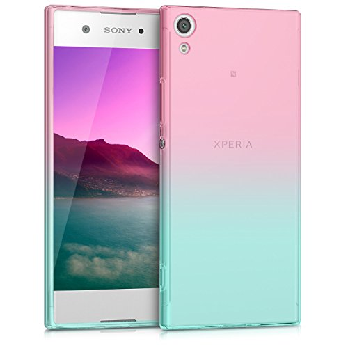 kwmobile Case kompatibel mit Sony Xperia XA1 - Hülle Handy - Handyhülle Zwei Farben Pink Blau Transparent