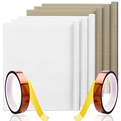 SENHAI 6 Pcs 23.6″ x 15.7″ Teflon Sheet with 2 Heat Tapes, Non Stick Heat Resistant Craft Mat for Heat Press Transfer Paper Baking Press Machine-Brown, White