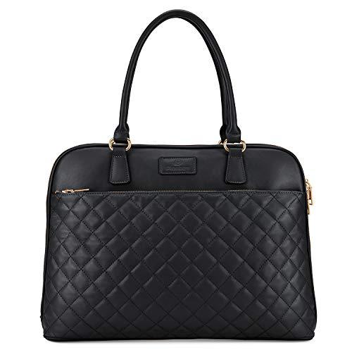 Plambag Aktendtasche damen Laptoptasche 15,7 Zoll PU Leder Handtasche, Schwarz-1