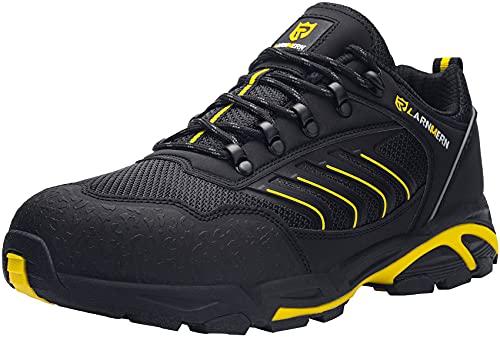 LARNMERN Zapatos de Seguridad Hombre Mujer con Punta de Acero Ligero Antideslizante Antiestático Cómodo Zapatillas Seguridad Transpirablesin Cordones Trabajo,46 EU Negro Amarillo