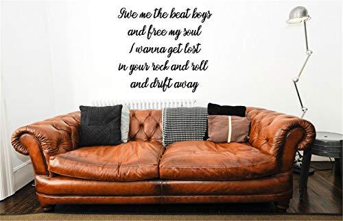 pegatinas de pared fluorescentes pegatinas de pared 3d Music wall decal Drift Away Song Chorus Lyrics Vinyl Wall Words Decal Sticker for living room bedroom music room