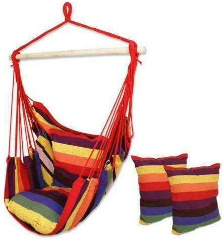 LBT Outdoor Chair Hanging Rope Porch Challenge the lowest price of Japan ☆ Yard Patio Seat 2 w Cheap SALE Start Rainbow