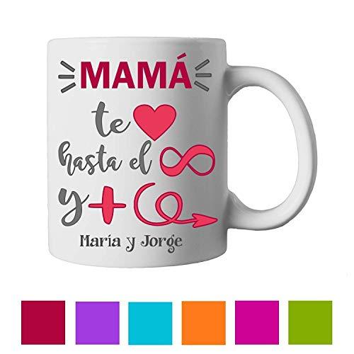 Kembilove Taza de Café Mama Personalizada – Taza de Desayuno con Nombre Madre Personalizada e Hijos – Taza de Café y Té para Madres – Taza de Cerámica Impresa – Regalo Original Taza de 350 ml