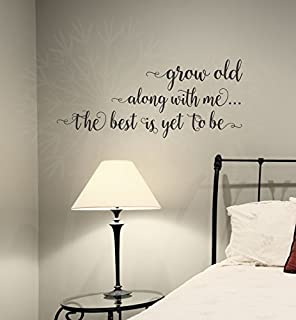 Wall Decor Plus More WDPM3879 Grow Old Along with Me Bedroom Wall Saying Vinyl Decal Stickers, 23x10-inch, Black, 23