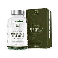 Chlorella Powder and Spirulina Powder [ 1800 mg ] - 200 Powdered Chlorophyll Tablets - High Quality Blue Spirulina Powder and Chlorella Tablets - 100% Vegan Spirulina Capsules