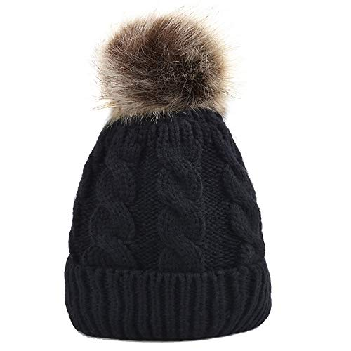 Zoylink Cappello lavorato a maglia, Ladies Winter Warm Chunky Knitted Cap Bobble Hat Beanie Headwear con Pom Pom per le donne Ragazze (Black)