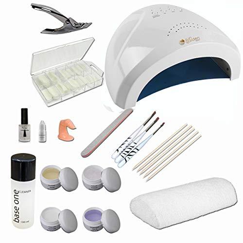 Nagelstudio Starterset mit HANDAUFLAGE – UV Nail Starter Set mit Frottee Handablage für Nagelmodellage